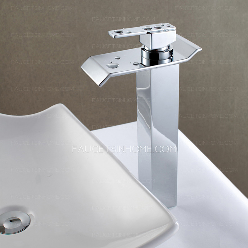 Modern Large Waterfall Outlet Vessel Mount Bathroom Faucet