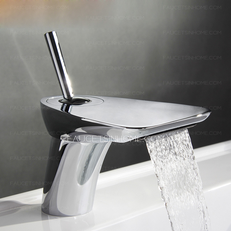 Cool Bathroom Faucets : ... Faucets > Cool Rocker Shaped Handle Sector Waterfall Bathroom Faucet