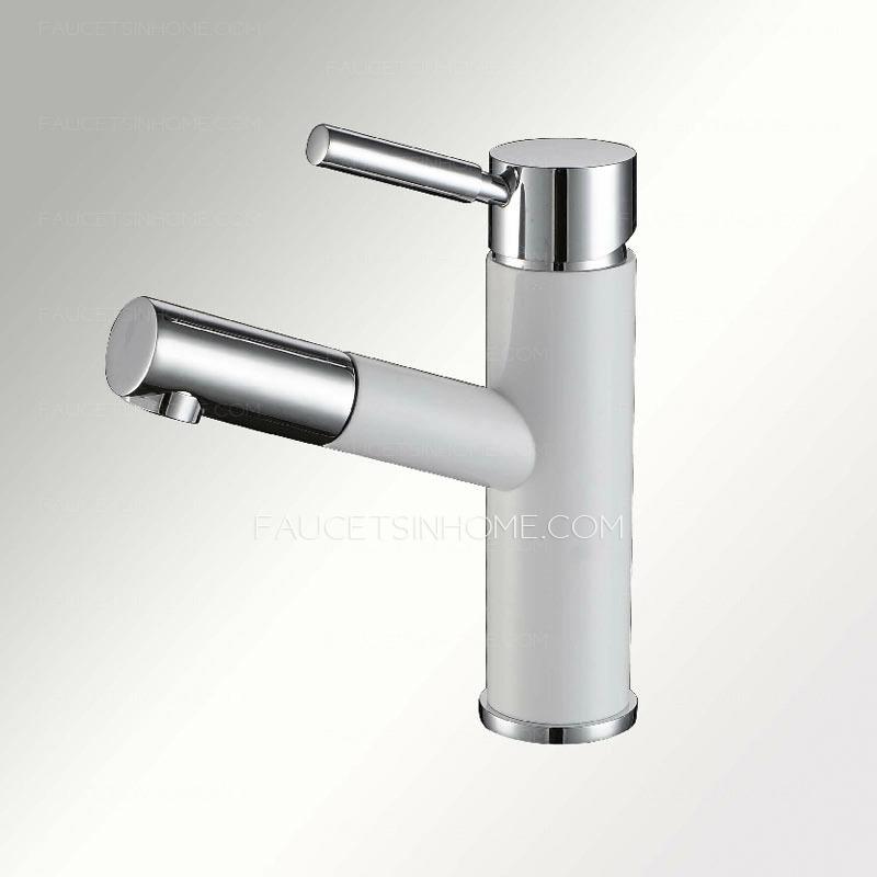 Discount White Pullout Spray Unique Bathroom Faucet