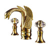 Luxury Swan Shaped Carving Wide Spread Antique Bathroom Faucet