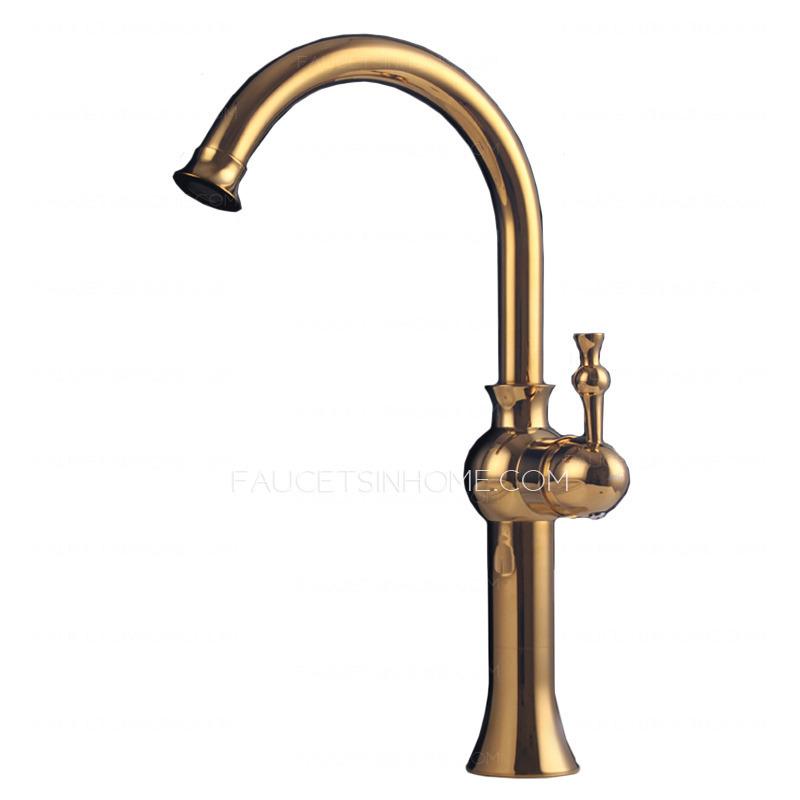 Antique Rose Gold High Side Handle Bathroom Vessel Faucet