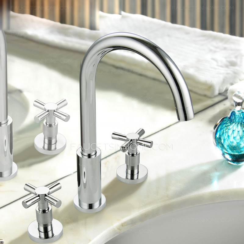 Vintage Two Cross Handle Split Style Bathroom Sink Faucet