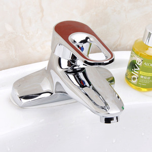 Simple Two Hole Hollowed Red Handle Bathroom Sink Faucet