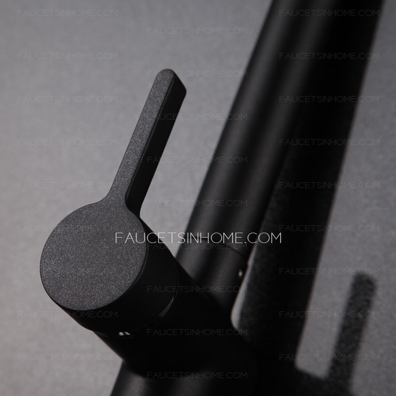Simple Vertical Designed Side Handle Black Kitchen Sink Faucet