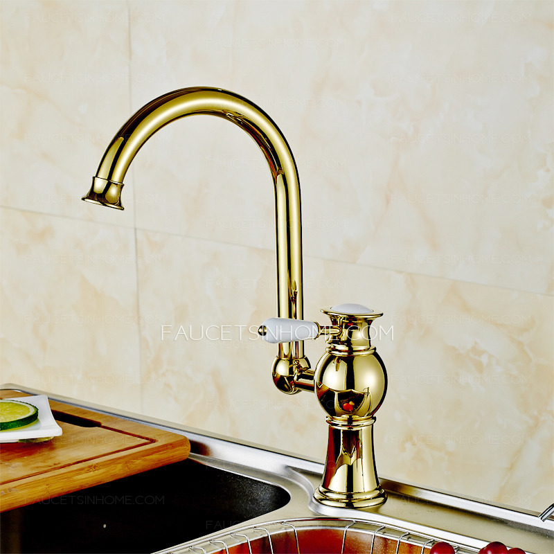 Antique Polished Brass Radian Handle Kitchen Faucet Sale