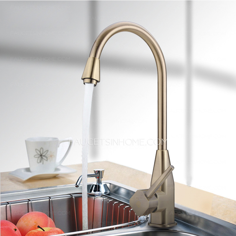 Antique Brushed Copper Rotatable High Arc Kitchen Faucet