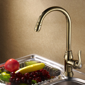 Antique Polished Brass Side Radian Handle Kitchen Faucet