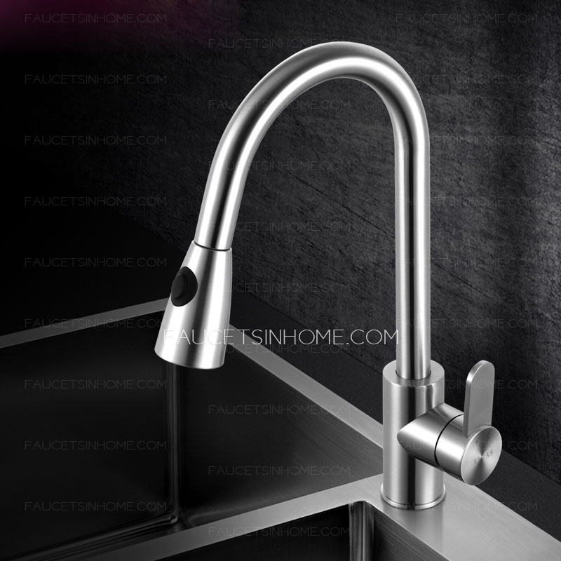 High End Pullout Shower Water Stainless Steel Kitchen Faucet