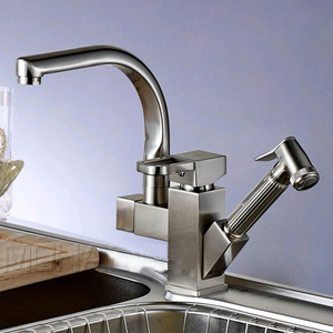 High End Copper Rotatable Kitchen Faucet With Pullout Spray Gun