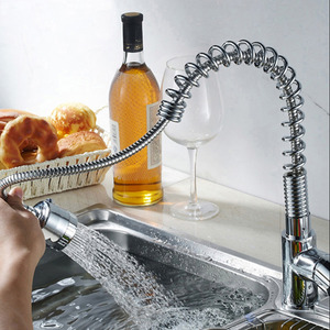 Professional Pullout Spring Pipe Kitchen Faucet With Sprayer