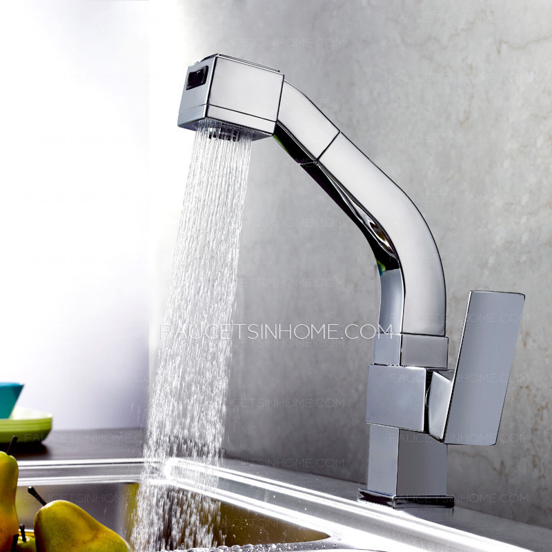 High End Faucets : ... Faucets > High End Square Shaped Pullout Rotatable Kitchen Faucet