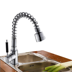 Modern Pullout Brass Stick Handle Kitchen Faucet