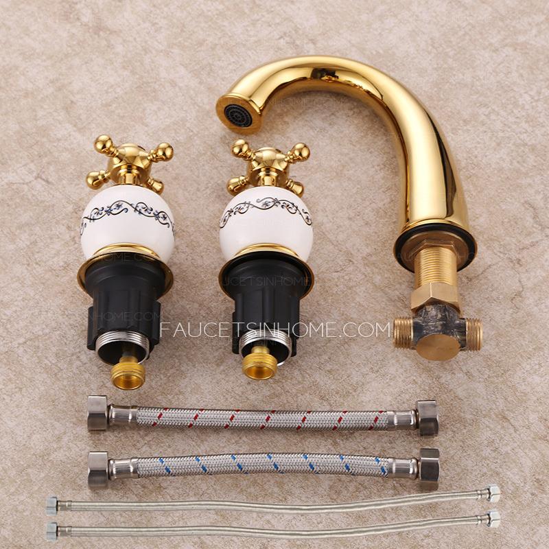 Vintage Polished Brass Split Three Set Bathroom Faucet