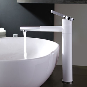 Simple White Painting Copper Bathroom Sink Faucet Rotatable