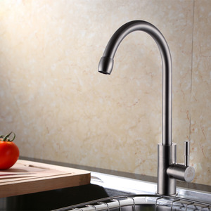 Fashion Polished Nickel Bend Single Handle Kitchen Sink Faucet
