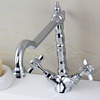 Vintage Lengthen Pipe Two Cross Handle Kitchen Faucet