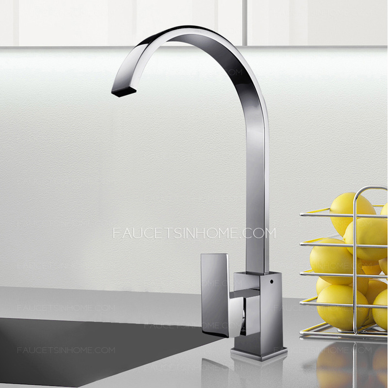 Gooseneck High Kitchen Faucets Single Handle