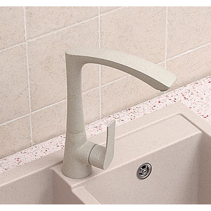 Modern Painting Beige Single Handle Rotatable Kitchen Faucet