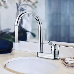 Simple Chrome Copper Rotatable Two Holes Kitchen Faucet