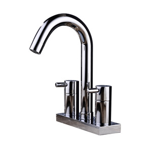 Modern Three Hole Rotatable Brass Bathroom Sink Faucet