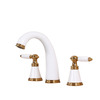 High End White Painting Split Three Hole Bathroom Faucet