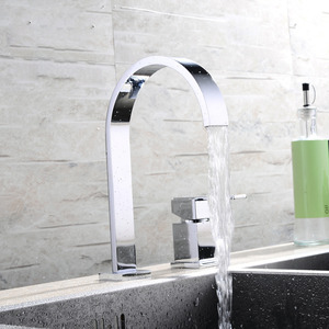 Modern Split Two Holes Waterfall Bathroom Sink Faucet