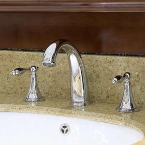 High End Silver Three Holes Wide Spread Bathroom Faucet
