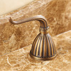 Antique Copper Spiral Pattern Three Hole Bathroom Faucet