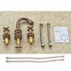 Vintage Brushed Copper Three Hole Bathroom Sink Faucet