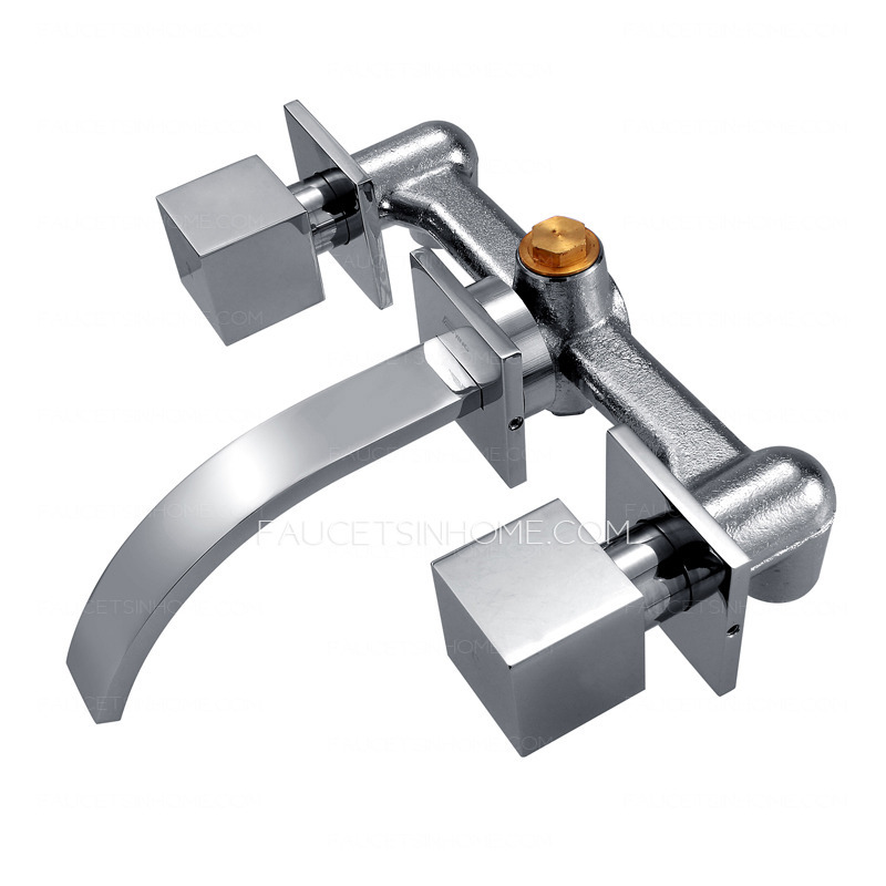 Modern Three Hole Wall Mount Waterfall Bathroom Sink Faucet