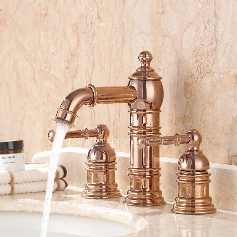 High End Rose Gold Three Hole Bathroom Sink Faucet