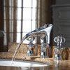 Luxury Crystal Handle Three Hole Waterfall Bathroom Faucet