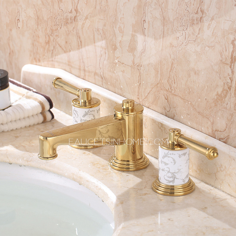 Luxury polished brass three hole gold bathroom sink faucet for Polished gold bathroom faucets