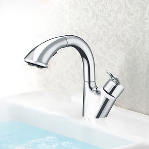 Modern Pullout Lead Free Bathroom Faucet Single Handle