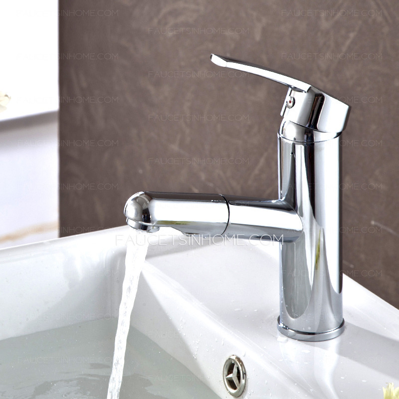 Bathroom Sink Faucets Cheap: Discount Pullout Spray Copper Chrome Bathroom Sink Faucet