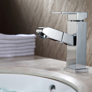 Modern Square Shaped Pullout Bathroom Sink Faucet