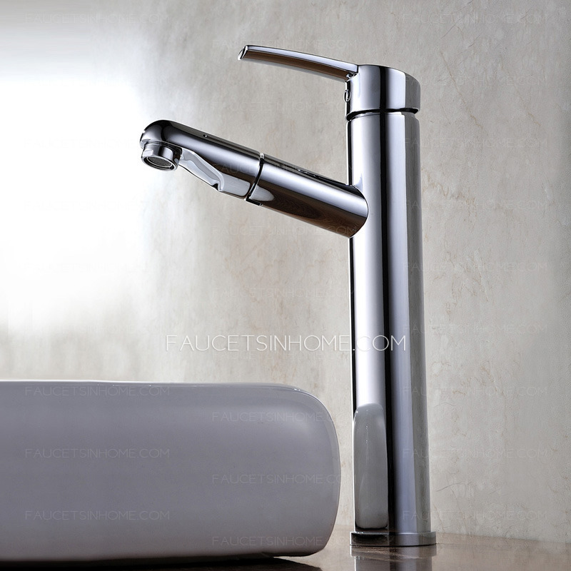 Bathroom Sink Faucets Cheap: Cheap Tall Vessel Mount Pullout Bathroom Sink Faucet