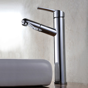 Cheap Tall Vessel Mount Pullout Bathroom Sink Faucet