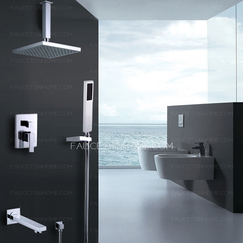 Modern Hanging Concealed Wall Mount Shower Faucet System