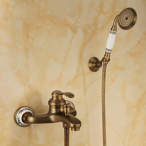 Vintage Brushed Copper Shower Faucet With Faucet Pipe