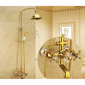 Vitange Gold Crystal Handle Shower Bathroom Faucet System