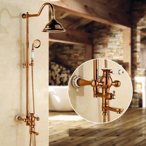 Luxury Two Handle Rose Gold Shower System Bathroom