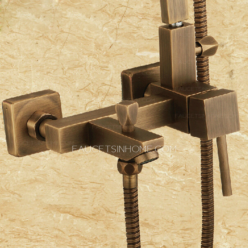 antique copper bathroom shower faucet with elevating pipe. Black Bedroom Furniture Sets. Home Design Ideas