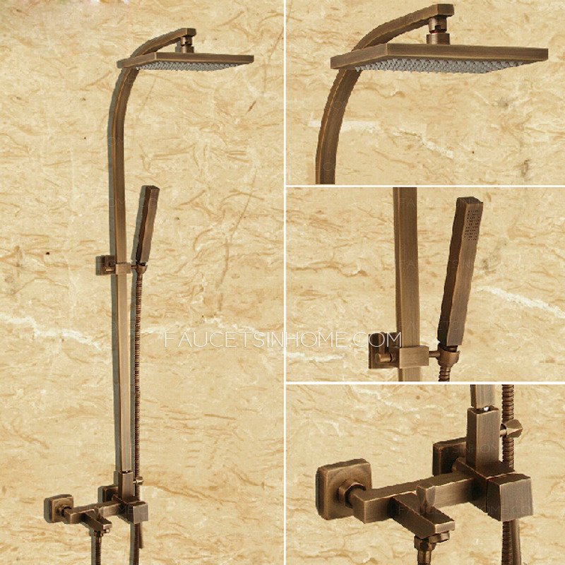 Antique copper bathroom shower faucet with elevating pipe for Copper in shower water