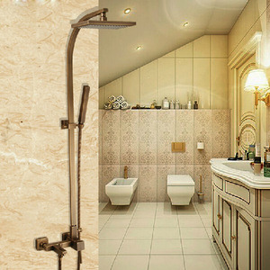 Antique Copper Bathroom Shower Faucet With Elevating Pipe