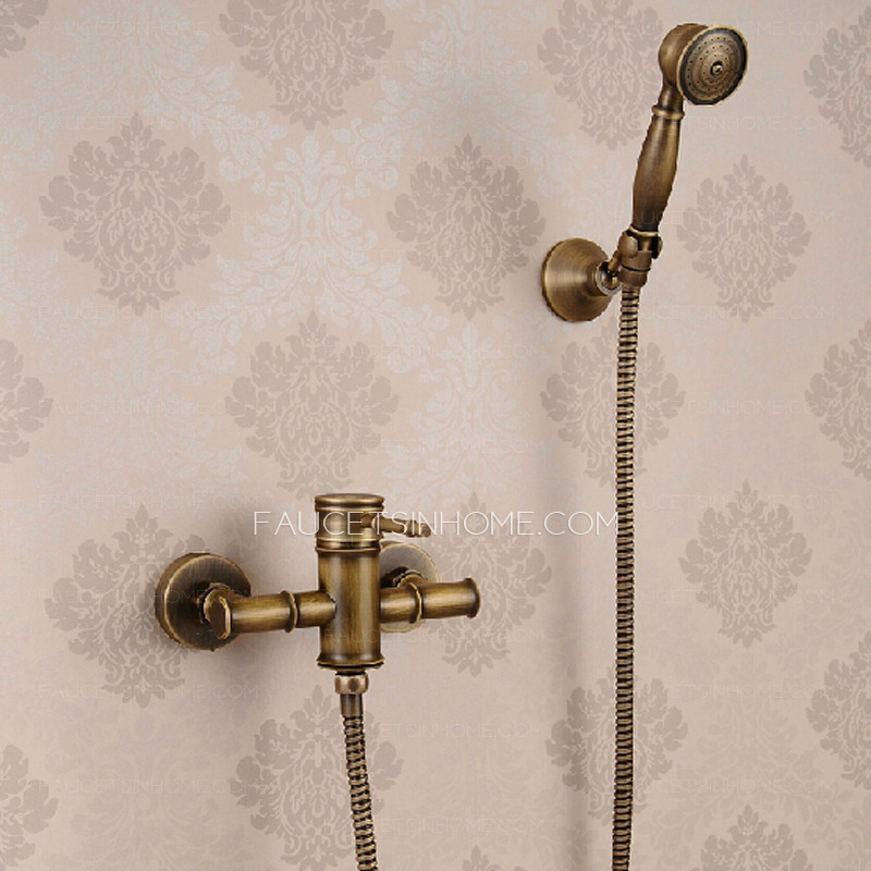 Cheap Bamboo Shaped Antique Copper Shower Faucet System