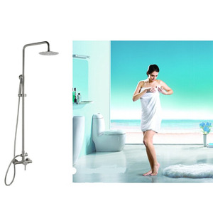 Modern Stainless Steel Brushed Shower Faucet With Top Shower