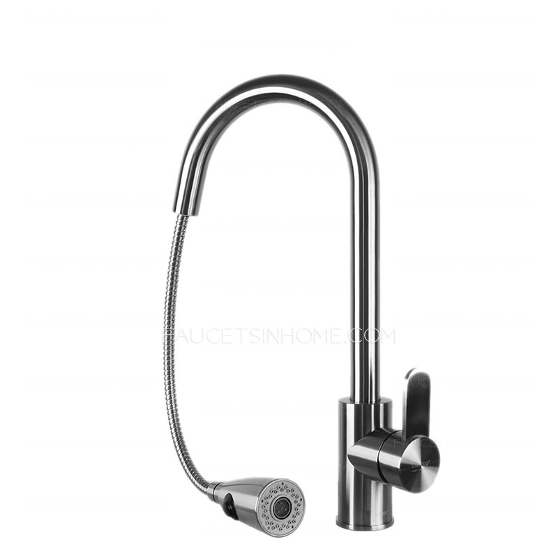 Enironmental Stainless Steel Single Handle Pullout Kitchen Facuet