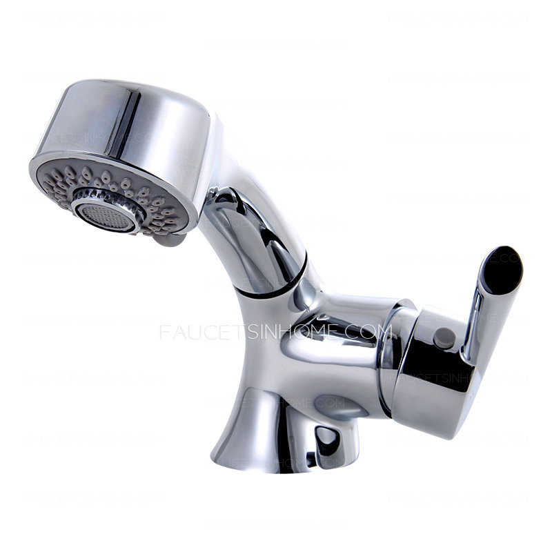 Chic Pull Out Copper Sink Faucet Bathroom For Sale