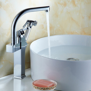 Fashionable Heightening Pullout Bathroom Sink Faucet With Spray Gun